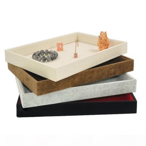 Black Coffee Grey Velvet Bangle Bracelet Display Stand Holder Tray Storage Box Linen Earring Rings Necklace Jewelry Empty Tray