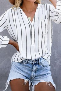 Color Shirts Casual V-Neck Long Sleeve Shirts Women Designer Clothes Womens Shirts Fashion Striped Panelled Natural
