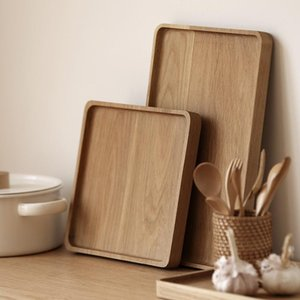 Wood Tray Rectangular Rubber Wood Food Fruit Plate Tableware With Edible Grade Wood Protective Paint Two Sizes