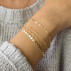4 Pcs / lot Bohemia Multilayer pulseiras de ouro Cor Prata Tubo Lace Satélite Cadeia Pulseiras Design for Women cadeia pulseira jóias