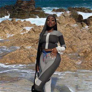Couleur Crew Neck Mode Costumes Femmes Deux Tenues Piece Pants Set Automne Ladies Designer Survêtements Contraste Sexy
