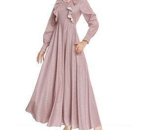 Lady Muslim Dress Women Loose Long Sleeve Round Neck Festival Robe Dress Longuette Islamic Clothing Vetement Femme88
