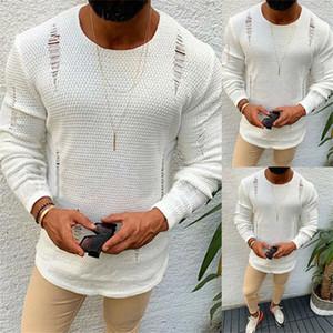 Отверстия Мужчина рваных свитера хлопок зима теплого трикотажный пуловер O-образный вырез с длинным рукавом свитер мужского конструктора Clothings