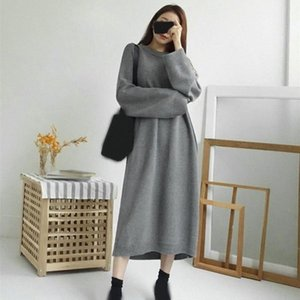 Autumn Winter Thick Pullover Sweater Dress Women Korean Chic Batwing Long Dress Casual Loose Big Size Knitted Dresses PXOy#