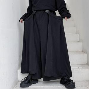 Masculino Japão Estilo Moda Vintage solto saia Pants destacável Side pano de Homens perna larga calça casual Stage Roupa