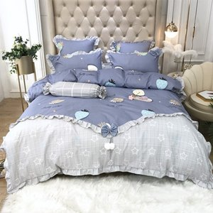 Fashion Bedding Set Luxury Lotus Leaf Edge Bed Sheet Quilt Cover Pillowcase Family Set Queen King Size Bed Linen Princess Style