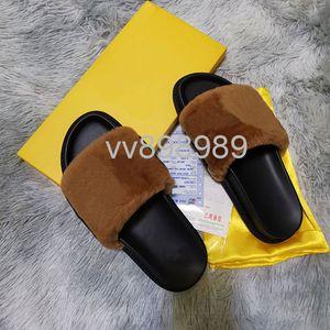 Mulheres Furry Chinelos Fluff carta moda casual sapatos masculinos de luxo Botas Moda Sandals Fur Slides chinelos com caixa F002