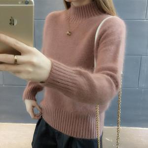 Pullover Frauen Pullover mit Stehkragen Pullover Jumper Nachgeahmte Mink Wollpullover Languid lose Sweter Frauk Vestidos LXJ9001