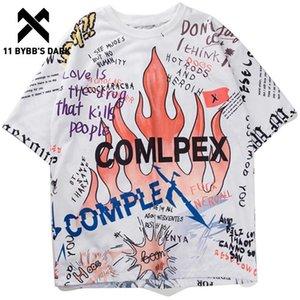 11'S DARK Mens BYBB с коротким рукавом футболки Граффити тройники рубашки Flame Печать скейтборд Tshirts Мужской Хлопок Hip Hop Streetwear KJ54