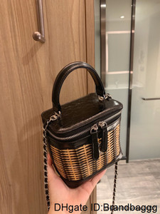 style handbag lady portable Fashionable simple handbags Latest bamboo and rattan color matching cosmetic bag OCVM CKV2
