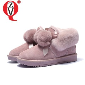 ZVQ cute snow boots pink black brown women's flats shoes round toe ankle boots winter autumn hair ball woman booties