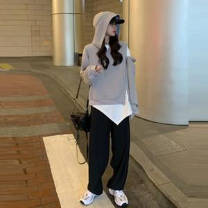 abertura de la cremallera y el diseño de cierre con capucha suéter blanco camiseta pantalones de pierna ancha traje traje pantalón de pierna ancha