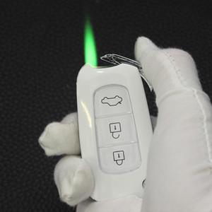 2020 Новый факел Turbo Jet зажигалка бутан Завышенные ключ сигары Креативный автомобильного прикуривателя Cigarette Металл зеленый огонь ветрозащитный зажигалки NO GAS