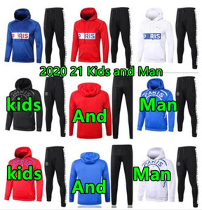 2020 2021 Man and kids soccer tracksuit 20 21 paris hoodies kids fr football jackets tracksuits training jogging suit jacket kit
