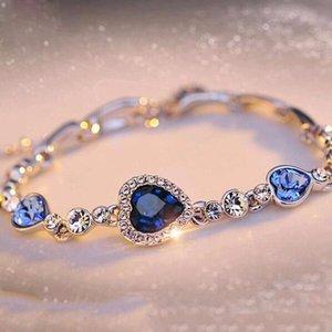 KISSWIFE femmes le plus chaud Mesdames Rhinestone Bangle Ocean Blue Bracelet chaîne coeur bijoux vente directe