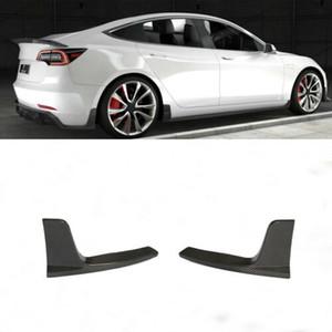 2PCS Pára-choques traseiro Splitter Canards Fins Para Tesla Model 16-19 março Fibra de Carbono