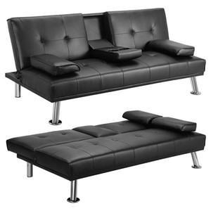 Nero convertibile divano letto con bracciolo 2 portabicchieri / tessuto di lino / Gambe in metallo reclinabile Divano Mobili per la casa FACILE MONTAGGIO W36814055