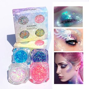 4 Цвет лица Eye Highlight Monochrome Блеск порошок Pentagram Moon Алмазные Фрагмент Mermaid Блестки Eye Shadow