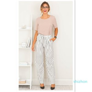 Hot Sale Fashion Woman's Pants Concise style stripe belt wide leg pants stripe fashion nine minutes pants 2 Colores selectd Size S-XL