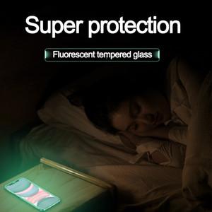 Verre Trempé lumineux pour iPhone XS 11 Pro Max 6 7 8 Plus Fluorescence écran protecteur pour IPhoneX XR SE 2020 Film anti-chute