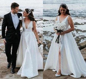 Bohemain Beach High Side Split Wedding Dresses For Bride V-Neck Sweep Train Garden Bridal Gowns Cheap Country Style Vestidoe De Noiva Custom