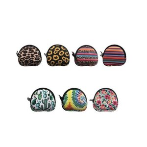 Neoprene Small Coin Purse Fashion Face Mask Holder MultiFunction Storage Bags Earphone Bags Zipper Printing Purse Solid Coin Pouch CCA12558