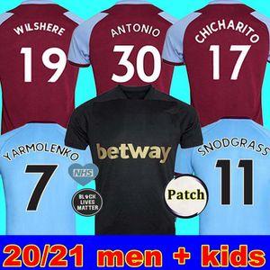 20 21 WEST Fußball-Trikot HAM 2020 2021 Groß NOBLE Trikots ANDERSON RICE NOBLE Fußballhemden Männer + Kinder-Kit 125 Jahre 125. dritte schwarz