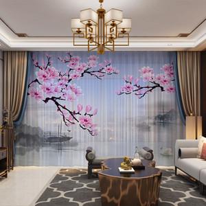Blumenvögel 3D Sheer Vorhänge Voile für Wohnzimmer Schlafzimmer Drapes Cortinas Kundenspezifische Größe Tüll Dekorative Vorhang Foto Druckgedruckte Keile