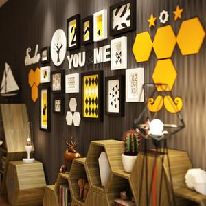 INKANEAR Peinture mode moderne de style nautique Cadre photo Régl.horl en bois massif Décoration d'intérieur Décoration murale bricolage HF2447