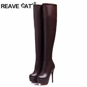 Reave CAT sobre la mujer Zapatos de rodilla a largo botas altas de calidad superior delgada de la PU talón de invierno otoño caliente Super High Plataformas talón A854