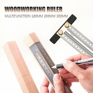 Un nuovo arrivo Ultra Precision Marcatura Righello originale lavorazione del legno Scribing Angolo righello di misura in acciaio inox senza Pen xpuU #