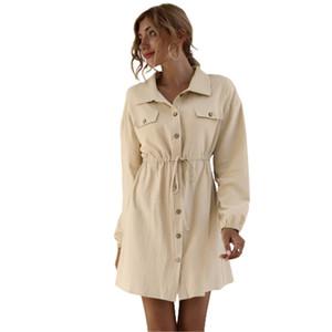 Mulheres Waxi Vestido A-line Casual vestido de alta qualidade mulheres outono shirt Vestidos 2020 Outono New Arrival 2 Cor Tamanho S-XL