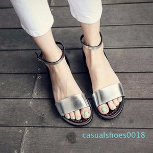 QWEDF argent Sandales plates Sandales solides Femmes souple plage Chaussures d'été Chaussons Argent Sandalias Mujer Femme Sandale A8-170 c18