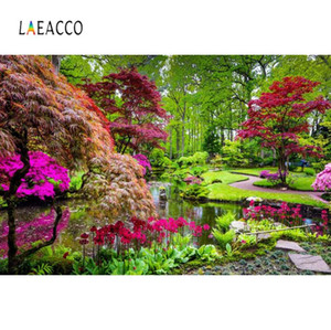 Green Tree Laeacco Natural Backdrops Flores Lake Park Garden Way Beautiful View Background fotográfica Photocall Photo Studio