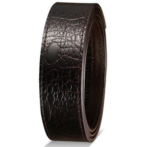 Mens Automatic Checkoff Full-Grain Leather Belt Buckle-Free Headless Leather Waistband Crocodile Casual Retro Factory Outlet