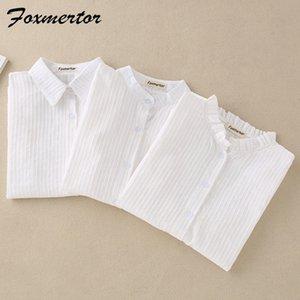 Foxmertor 100% algodón blanco de la blusa de la camisa del resorte otoño Blusas Camisas para mujeres Sección de manga larga tapas ocasionales bolsillo sólido 200922