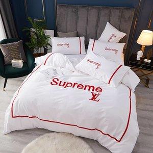 2020 ropa de cama blanca para logo rojo juegos de cama de matrimonio cubren fundas de almohada tamaño queen simples hoja del lecho nueva cubierta de la cama de matrimonio edredones conjuntos