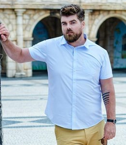 Short Sleeved Solid Color Shirt 5XL Plus Size Business Shirts Men Male Dress Shirt