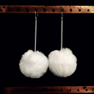 Autumn and Winter Simple Rabbit Fur Ball Earrings Elegant Sexy Long Cool All-match Ear Pendant Pure Tremella Hook