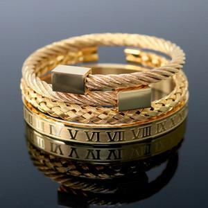 3pcs / set Luxuxmann Armband römische Zahl-Armband Edelstahl-Armband Öffnungs Cuff Mode-Armband für Männer Schmuck Y200810