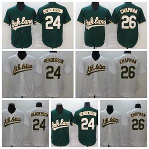Homens 2020 Baseball 26 Matt Chapman Jersey 24 Rickey Henderson Home Green Away Branco Flexbase Cool Base Bordado e Costura Boa Qualidade