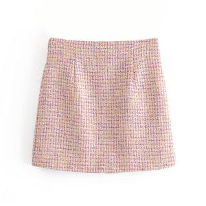 Desgaste BLSQR Oficina de las mujeres elegantes Tweed mini falda de cintura alta trasera de la cremallera Mujer Faldas Mujer