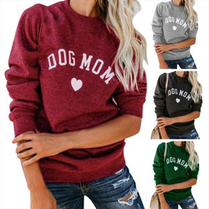 Women Dog Mom Tee Shirt Letter Print Sweatshirt Womens Casual Long Sleeve Letter Print Cute Graphic Sweatshirt Pullover Tops He