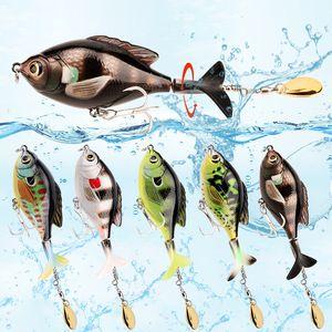 5pcs Lot 9.5cm 16.9g Life Like Topwater Fishing Lure Set Bass Trout Hard Bait Artificial Wobbler Treble Hook Rotaing Tail Pencil Lure