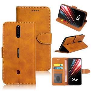 portafoglio di cuoio di vibrazione di lusso di caso per ZTE Nubia Rosso Magia 5G cover posteriore del telefono di caso con slot per schede ID