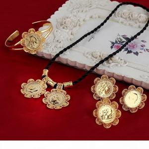 Ethiopian Kopf-Münzen-Set Armreif Anhänger Ring Ohrringe Gold24k GF afrikanischen Eritrea Libyen Kongo Nigeria Kenia Arabisch Schmuck