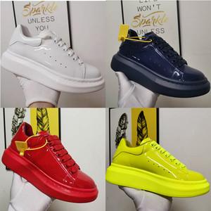 Encaje de charol zapatos de gran tamaño zapatilla de deporte de los hombres de moda de vestir de las mujeres zapatillas de deporte de la plataforma de gran tamaño Negro Amarillo Sole con la caja EU46