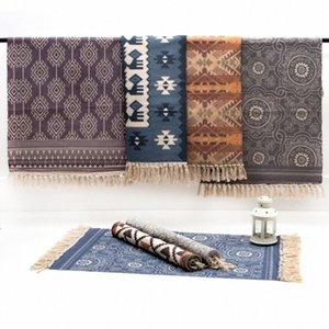 RAYUAN Nordic Style-Woven Cotton Teppich Teppich Wohnzimmer Schlafzimmer Nacht Tatami Bodenmatte Staub-Beweis Mats 60x90CM 60x130cm Lz4M #