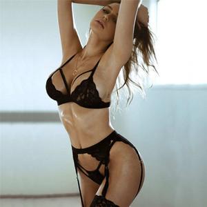 설정 여성의 섹시한 팬티 3PCS 스타킹 매력 여성 란제리 란제리 섹시한 높은 품질 여자 레이스 속옷 도매 Gbbej