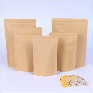 Zipper Brown Kraft aluminizing pouch Stand up kraft paper aluminium foil bag Resealable Zip Lock Grip seal Food Grade wholesale lxj182